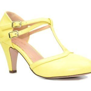 Shoes - Women's Double Buckle T-Strap Retro Pump Yellow